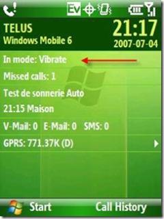 WM6 durant le rendez-vous en mode vibration